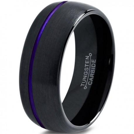 Вольфрамовое Матовое Обручальное (свадебное) кольцо 8мм (мужское, женское) черное со смещенной фиолетовой линией