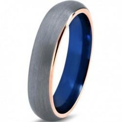 Вольфрамовое Матовое Обручальное (свадебное) кольцо 5мм (мужское, женское) с покрытием 18к розовым золотом , синее с серым