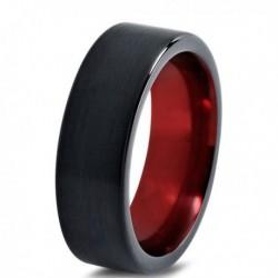 Вольфрамовое Матовое Обручальное (свадебное) кольцо 4мм (мужское, женское) черно красное