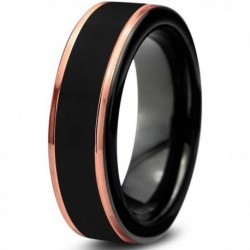 Вольфрамовое Матовое Обручальное (свадебное) кольцо 6мм (мужское, женское) с покрытием 18к розовым золотом