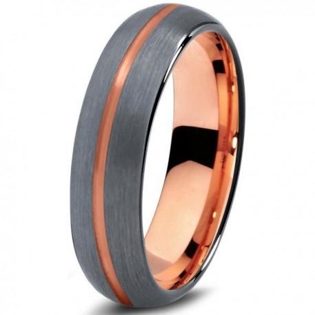 Вольфрамовое Матовое Обручальное (свадебное) кольцо 6мм (мужское, женское) с покрытием 18к розовым золотом, линия по центру