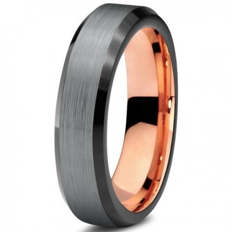 Вольфрамовое Матовое Обручальное (свадебное) кольцо 4мм (мужское, женское), с покрытием 18к розовым золотом