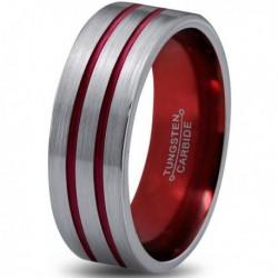 Вольфрамовое Матовое Обручальное (свадебное) кольцо 6мм (мужское, женское) с двойной красной линией CC8870-A
