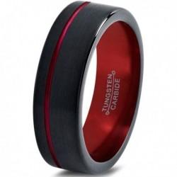 Вольфрамовое Матовое Обручальное (свадебное) кольцо 6мм (мужское, женское) черно красное со смещенной линией CJ8843-A