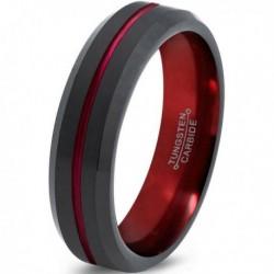 Вольфрамовое Матовое Обручальное (свадебное) кольцо 6мм (мужское, женское) черно красное CJ8849-A
