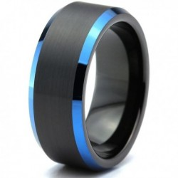 Вольфрамовое Матовое Обручальное (свадебное) кольцо 8мм (мужское, женское) черно синее CC7017-C14-A
