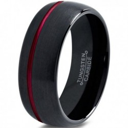 Вольфрамовое Матовое Обручальное (свадебное) кольцо 8мм (мужское, женское) черное со смещенной красной линией CC2036-A