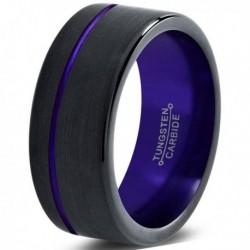 Вольфрамовое Матовое Обручальное (свадебное) кольцо 8мм (мужское, женское) черно фиолетовое со смещенной линией CJ8861-A