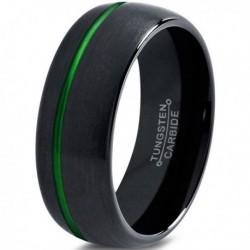 Вольфрамовое Матовое Обручальное (свадебное) кольцо 8мм (мужское, женское) черное со смещенной зеленой линией CC2037-A