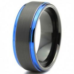 Вольфрамовое Матовое Обручальное (свадебное) кольцо 8мм (мужское, женское) черно синее CC3026-A