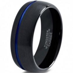 Вольфрамовое Матовое Обручальное (свадебное) кольцо 8мм (мужское, женское) черное CC3015-A