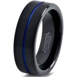 Вольфрамовое Матовое Обручальное (свадебное) кольцо 6мм (мужское, женское) черно синее CC3008-A