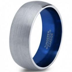 Вольфрамовое Матовое Обручальное (свадебное) кольцо 8мм (мужское, женское) с синим напылением CC7011-C14-A