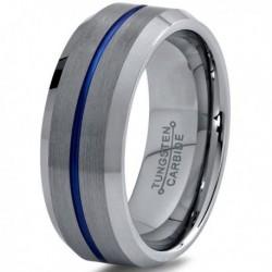 Вольфрамовое Матовое Обручальное (свадебное) кольцо 8мм (мужское, женское) с синей линией по центру CC8866-A