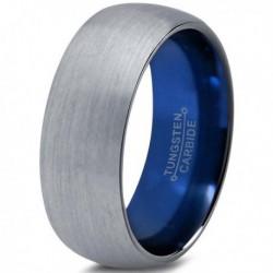Вольфрамовое Матовое Обручальное (свадебное) кольцо 8мм (мужское, женское) синее внутри CC910-C14-A