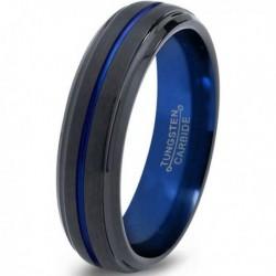 Вольфрамовое Матовое Обручальное (свадебное) кольцо 6мм (мужское, женское) черно синее CJ8803-A