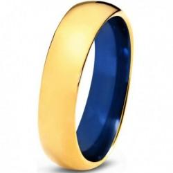 Вольфрамовое Обручальное (свадебное) кольцо 6мм (мужское, женское)с напылением желтым золотом, синее внутри CC100-C14-A