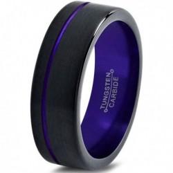 Вольфрамовое Матовое Обручальное (свадебное) кольцо 6мм (мужское, женское) черно фиолетовое со смещенной линией CJ8860-A