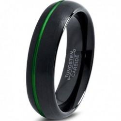 Вольфрамовое Матовое Обручальное (свадебное) кольцо 6мм (мужское, женское) черное зеленое со смещенной линией CC2033-A