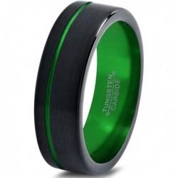 Вольфрамовое Матовое Обручальное (свадебное) кольцо 6мм (мужское, женское) черно зелёное CJ8824-A