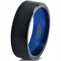 Вольфрамовое Матовое Обручальное (свадебное) кольцо 4мм (мужское, женское) черно синее CC3024-A