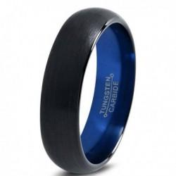 Вольфрамовое Матовое Обручальное (свадебное) кольцо 4мм (мужское, женское) черно синее CC7000-C14-A