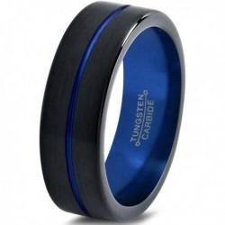 Вольфрамовое Матовое Обручальное (свадебное) кольцо 4мм (мужское, женское) черно синее , линия по центру CC2000-A