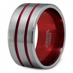 Вольфрамовое Широкое Обручальное (свадебное) кольцо 12мм (мужское, женское) двойная красная линия CC8872-A