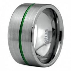 Вольфрамовое Широкое Обручальное (свадебное) кольцо 12мм (мужское, женское), зеленая линия по центру CC8888-A