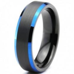 Вольфрамовое Матовое Обручальное (свадебное) кольцо 6мм (мужское, женское) черно синее CC3032-A