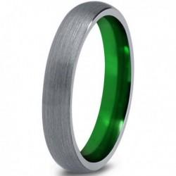 Вольфрамовое Матовое Обручальное (свадебное) кольцо 4мм (мужское, женское) с зеленым напылением CC061-C8-A