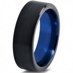 Вольфрамовое Матовое Обручальное (свадебное) кольцо 4мм (мужское, женское) черно синее CC1777-C14-A