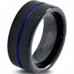 Вольфрамовое Матовое Обручальное (свадебное) кольцо 10мм (мужское, женское) черно синее , линия по центру CC3009-A