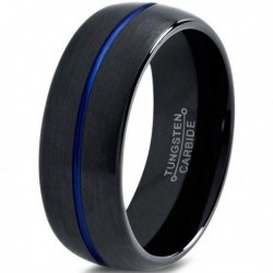Вольфрамовое Матовое Обручальное (свадебное) кольцо 10мм (мужское, женское) черн синее , линия по центру CC3011-A