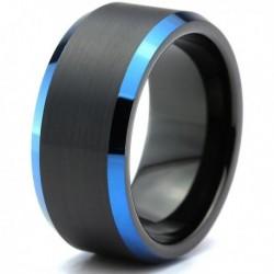 Вольфрамовое Матовое Обручальное (свадебное) кольцо 10мм (мужское, женское) черно синее CC3031-A
