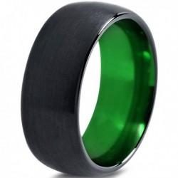 Вольфрамовое Матовое Обручальное (свадебное) кольцо 10мм (мужское, женское) черно зелёное CJ8827-A