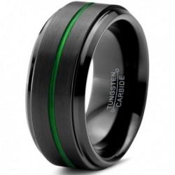 Вольфрамовое Матовое Обручальное (свадебное) кольцо 10мм (мужское, женское) черно зелёное , линия по центру CJ8831-A