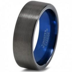 Вольфрамовое Матовое Обручальное (свадебное) кольцо 10мм (мужское, женское) черно синее CC918-C14-A