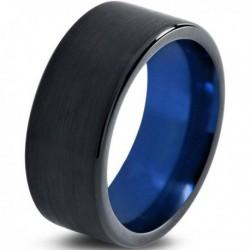 Вольфрамовое Матовое Обручальное (свадебное) кольцо 10мм (мужское, женское) черно синее CC230-C14-A