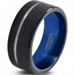 Вольфрамовое Матовое Обручальное (свадебное) кольцо 10мм (мужское, женское) черно синее, со смещенной линией CC8815-A