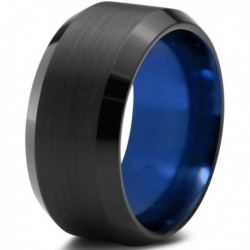 Вольфрамовое Матовое Обручальное (свадебное) кольцо 10мм (мужское, женское) черно синее CC378-C14-A