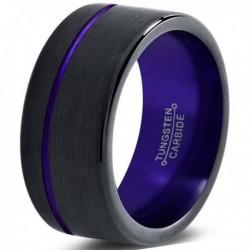 Вольфрамовое Матовое Обручальное (свадебное) кольцо 10мм (мужское, женское) черно фиолетовое CJ8862-A