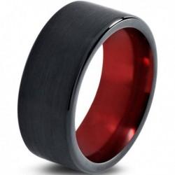 Вольфрамовое Матовое Обручальное (свадебное) кольцо 10мм (мужское, женское) черно красное CC230-C100-A