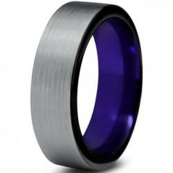 Вольфрамовое Матовое Обручальное (свадебное) кольцо 6мм (мужское, женское)фиолетовое вгутри CC748-C600-A