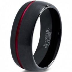 Вольфрамовое Матовое Обручальное (свадебное) кольцо 10мм (мужское, женское), черно красное, со смещенной линией CJ8809-A