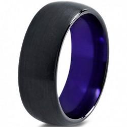 Вольфрамовое Матовое Обручальное (свадебное) кольцо 10мм (мужское, женское) черно фиолетовое 8010-A