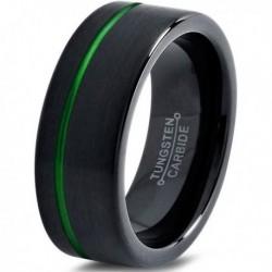 Вольфрамовое Матовое Обручальное (свадебное) кольцо 10мм (мужское, женское) черно зелёное, со смещенной линией CJ8836-A