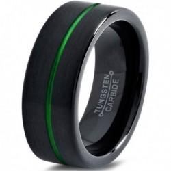 Вольфрамовое Матовое Обручальное (свадебное) кольцо 10мм (мужское, женское) черно зелёное, со смещенной линией CJ8833-A