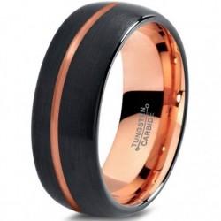 Вольфрамовое Матовое Обручальное (свадебное) кольцо 8мм (мужское, женское) с покрытием 18к розовым золотом CJ715-8-A