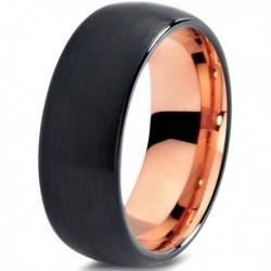 Вольфрамовое Матовое Обручальное (свадебное) кольцо 8мм (мужское, женское) с покрытием 18к розовым золотом CJ705-8-A